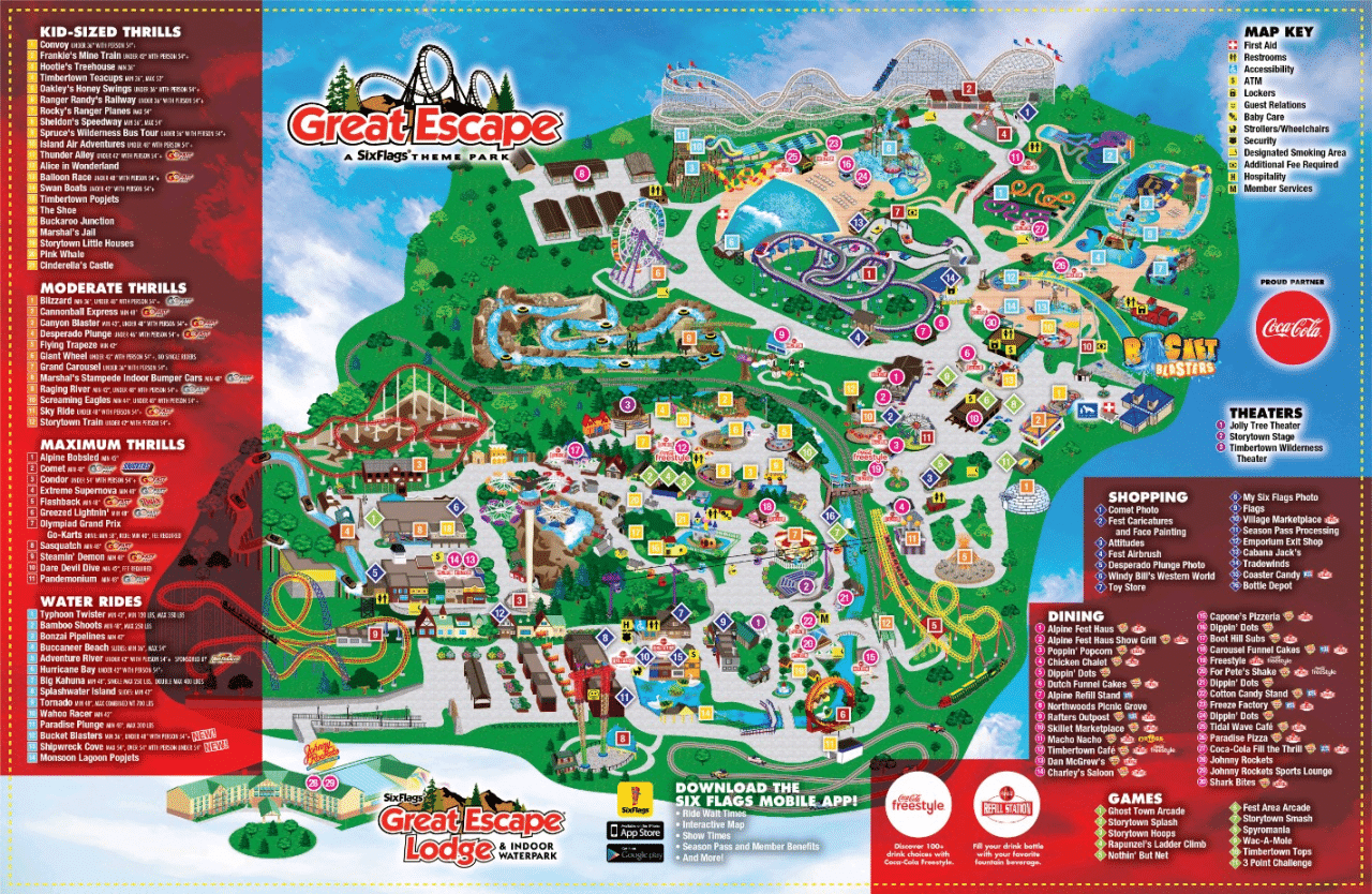 Six Flags Great Escape & Hurricane Harbor Map - Warrensburg Travel Park